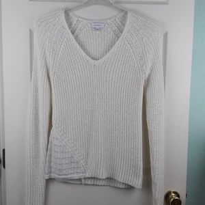 Calvin Klein White Knit and Lace Sweater Sz. M